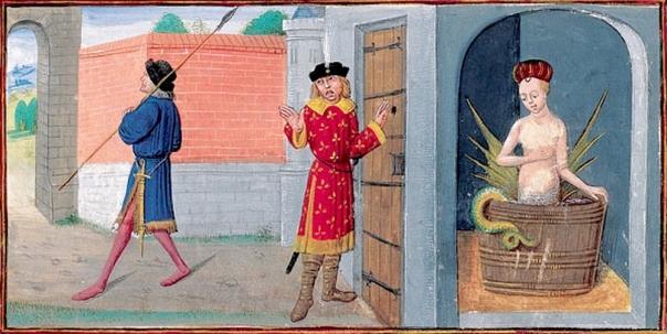 Mélusine en son bain, épiée par son époux Raimondin. Roman de Mélusine par Jean d'Arras, vers 1450-1500. BNF Fr.24383, f.19.