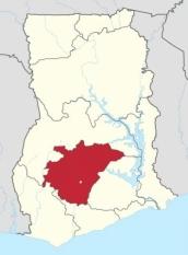 Le Ghana avec en rouge, l'actuelle région Ashanti