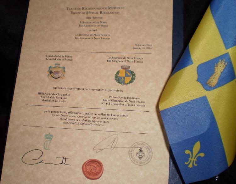 Le Traité de Reconnaissance Mutuelle entre le Royaume de Nova Francia et l'Archiduché de Mimas, en Suède.