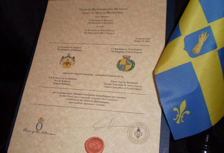 Le Traité de Reconnaissance Mutuelle entre le Royaume de Nova Francia et le Royaume de Ruthenia, au Brésil.