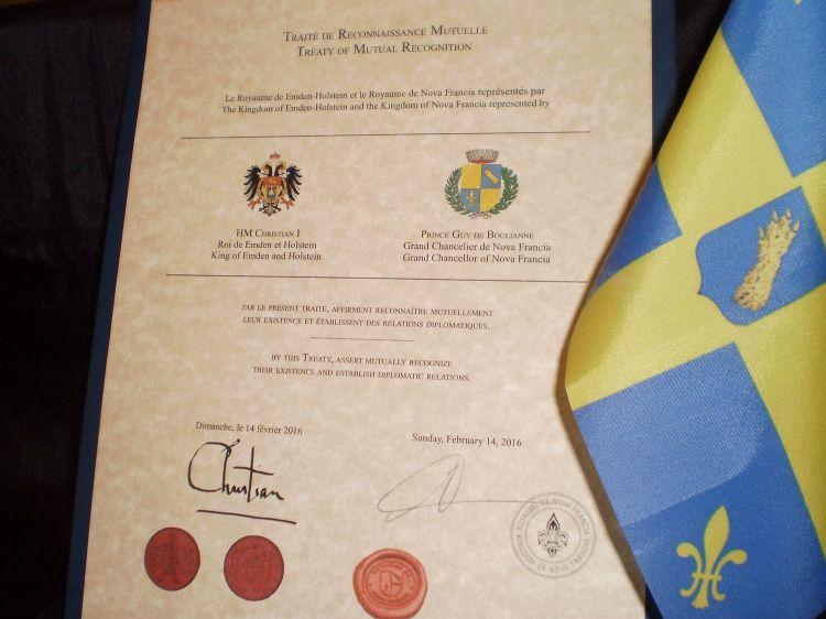 Le Traité de Reconnaissance Mutuelle entre le Royaume de Nova Francia et le Royaume de Emden-Holstein, Rosenberg.