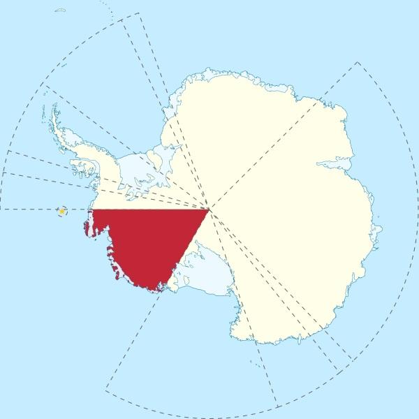 Le territoire revendiqué par le Grand Duché de Westarctica (en rouge)