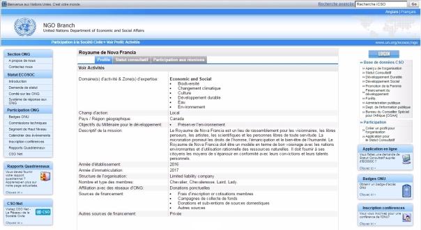 Le Royaume de Nova Francia est officiellement inscrit sur le site internet du Département des affaires économiques et sociales des Nations Unies.