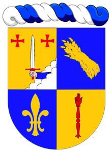 """Michel Legrand : """"Écartelé: au 1 d'or au dextrochère de carnation, vêtu d'azur, mouvant d'une nuée d'argent, tenant une épée du même, garnie de gueules, accostée en chef de deux croix du Temple, au 2 d'azur à une patte d'ours d'or mise en bande (de Bouillanne), au 3 d'azur à une fleur de lys d'or, au 4 d'or à une main de justice de gueules"""". Copyright : https://goo.gl/rqjiIJ."""
