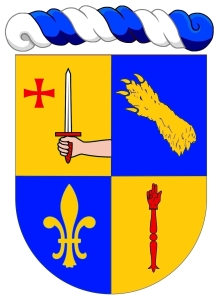"""Philippe Duris - """"Écartelé: au 1 d'or au dextrochère de carnation, mouvant du flanc senestre, armé d'une épée haute d'argent à la garde de gueules, adextrée d'une croix du Temple, au 2 d'azur à une patte d'ours d'or mise en bande (de Bouillanne), au 3 d'azur à une fleur de lys d'or, au 4 d'or à une main de justice de gueules."""""""