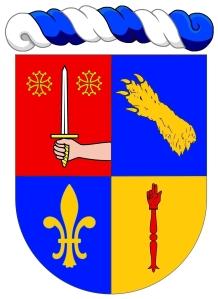 """Paulo Roberto Silveira de Souza - """"Écartelé: au 1 de gueules au dextrochère de carnation, mouvant du flanc senestre, armé d'une épée haute d'argent à la garde d'or, accostée en chef de deux croix cléchée, vidée et pommetée du même, au 2 d'azur à une patte d'ours d'or mise en bande (de Bouillanne), au 3 d'azur à une fleur de lys d'or, au 4 d'or à une main de justice de gueules."""""""