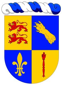 """Sébastien Neau - """"Écartelé: au 1 d'or à deux lions léopardés de gueules, armés et lampassés de sable, passant l'un sur l'autre, au 2 d'azur à une patte d'ours d'or mise en bande (de Bouillanne), au 3 d'azur à une fleur de lys d'or, au 4 d'or à une main de justice de gueules"""". Copyright : https://goo.gl/uFY1VZ."""