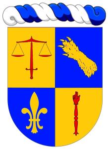 """Thibaut Naniot : """"Écartelé: au 1 d'or à une épée haute de gueules portant sur sa pointe une balance de deux plateaux du même, au 2 d'azur à une patte d'ours d'or mise en bande (de Bouillanne), au 3 d'azur à une fleur de lys d'or, au 4 d'or à une main de justice de gueules"""". Copyright : https://goo.gl/zna9lN."""
