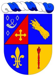 """Bertrand Ogerau-Solacroup de Ladevie : """"Écartelé: au 1 taillé d'azur au huchet d'argent, accompagné de 3 macles du même, posées 2 en chef et 1 en pointe (Ogerau) ; le 2 de gueules à la croix treflée d'or (Solacroup de Ladevie), au 2 d'azur à une patte d'ours d'or mise en bande (Bouillanne), au 3 d'azur à une fleur de lys d'or, au 4 d'or à une main de justice de gueules"""". Copyright : https://goo.gl/44n6Ay."""