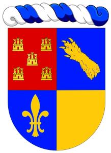 """Le blason du Chevalier et Laird, Yves Audet : """"Écartelé: au 1 de gueules à cinq châteaux donjonnés chacun de trois tourelles d'or, ordonnés en sautoir (Poitou), au 2 d'azur à une patte d'ours d'or mise en bande (de Bouillanne), au 3 d'azur à une fleur de lys d'or, au 4 d'or plain"""". Copyright : https://goo.gl/NbgBNY."""