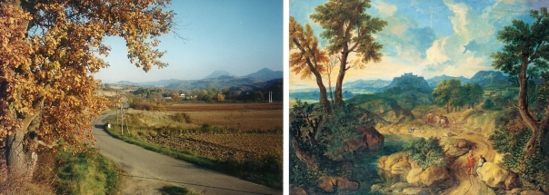 """Comparaison entre le village de Rennes-le-Château vu à partir de Esperaza, et le tableau de Nicola Poussin """"le Jardin des Hespérides""""."""