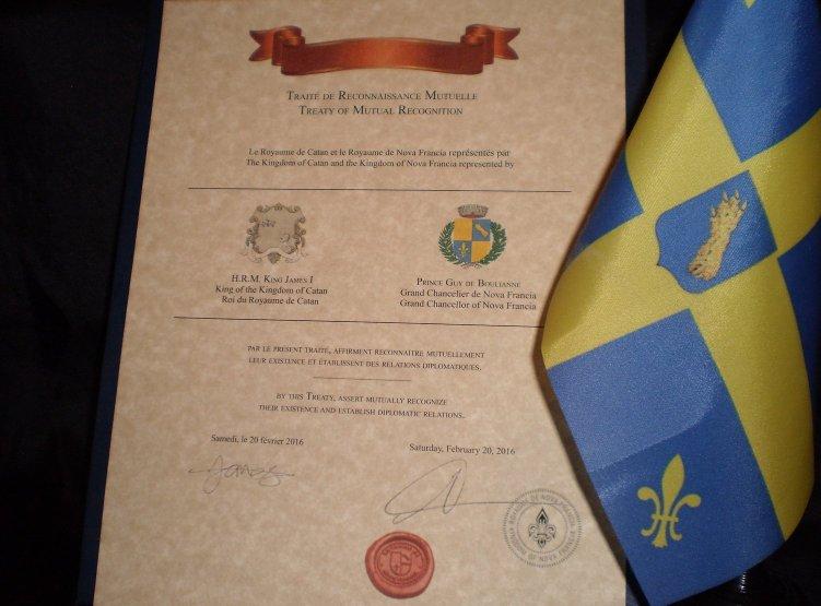 Le Traité de Reconnaissance Mutuelle entre le Royaume de Nova Francia et le Royaume de Catan, au Royaume-Uni.
