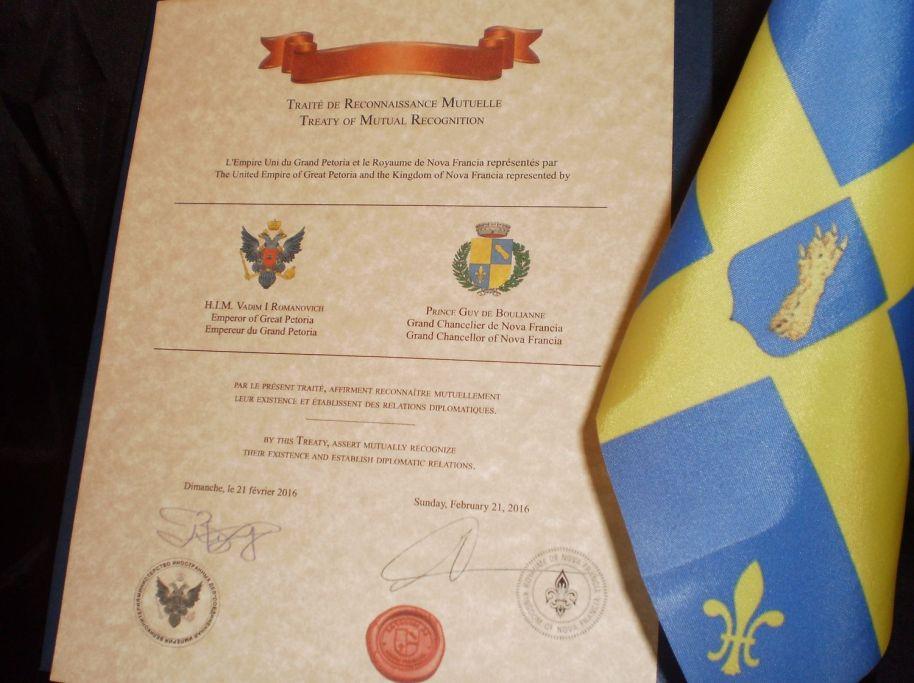 Le Traité de Reconnaissance Mutuelle entre le Royaume de Nova Francia et l'Empire Uni du Grand Petoria, en Russie.