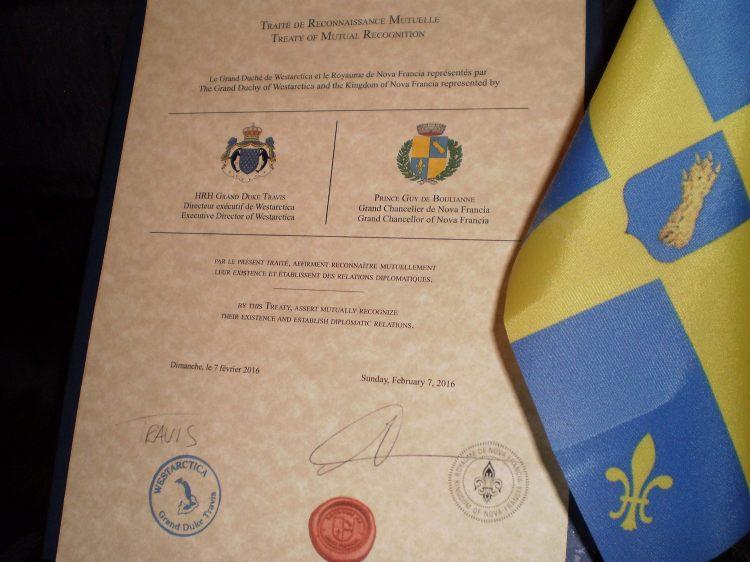 Le Traité de Reconnaissance Mutuelle entre le Royaume de Nova Francia et le Grand Duché de Westarctica, en Antarctique.