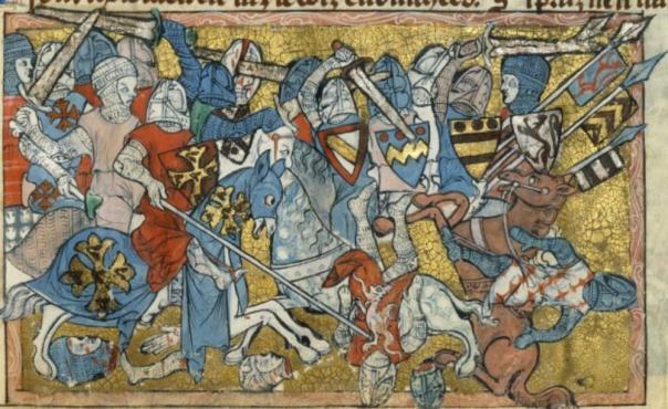 BNF Français 24364 Roman de Toute Chevalerie. Folio 40 (1308-1312), London, Angleterre. Bibliothèque Nationale.