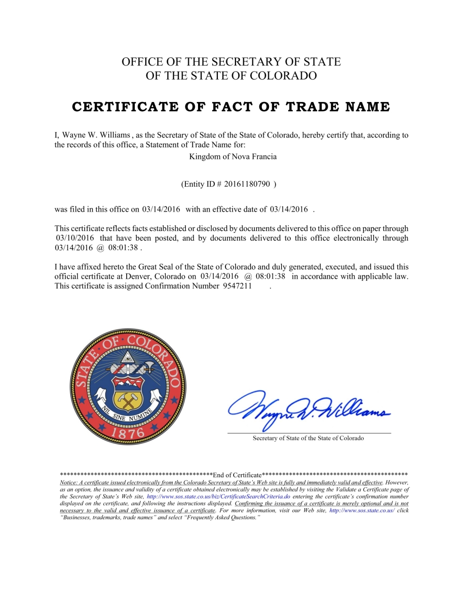 Colorado - Certificat de fait du nom commercial (Certificate of fact of trade name). No. 20161180790.