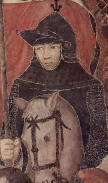 Le portrait de Galgano Guidotti, peint par l'artiste Ambrogio Lorenzetti, Palazzo Pubblico de Sienne.
