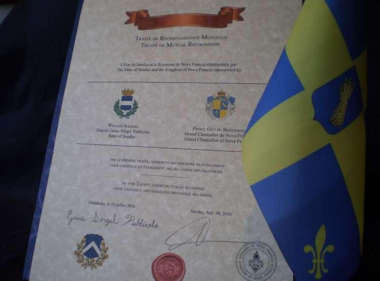 Le Traité de Reconnaissance Mutuelle entre le Royaume de Nova Francia et l'État de Sandus.