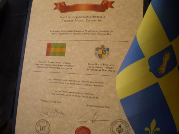 Le Traité de Reconnaissance Mutuelle entre le Royaume de Nova Francia et le Royaume du Sanwi.