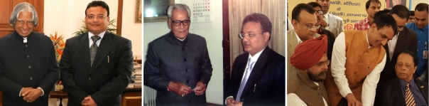 De gauche à droite : Harsh Vardhan Jain en présence de Shri A.P.J. Abdul Kalam Marecar (1931-2015), 11e Président de l'Inde (2002-2007) ; de Shri Bhairon Singh Shekhawat (1923-2010), 11e Vice-président de l'Inde (2002-2007) ; et de Sir Anerood Jugnauth, l'actuel Premier ministre de la République de Maurice.