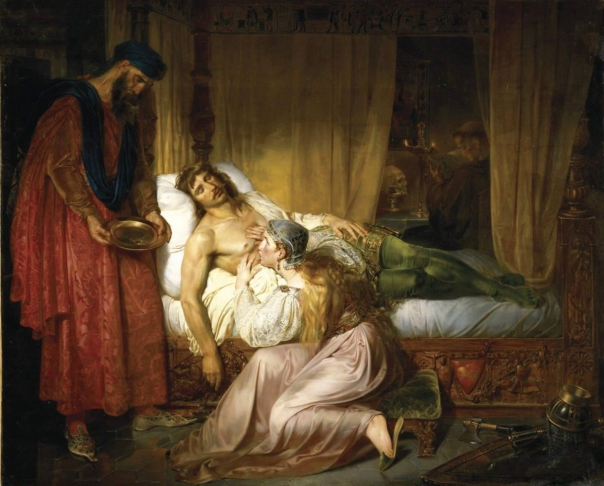 La princesse Sybille de Conversano suçant le poison de la blessure de son mari Robert Courteheuse, duc de Normandie, par Félix Auvray (1835).